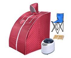 ZFF Portátil Sauna De Vapor Cabina 2L Acero Inoxidable Olla De Vapor SPA Personal Casa Desintoxicación Anti Envejecimiento, con Silla Y Control Remoto (Color : Red)