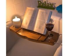 Relaxdays bandeja con soporte para libros, alto x ancho x fondo: 17,5 x 70 x 21,5 , bandeja de bambú para bañera con soporte para copa de vino o cava, extensible, con bandeja para jabones, color marrón