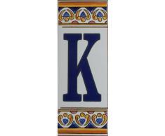 Equipo de números y letras de cerámica - Azulejos/un ambiente mediterráneo con Azulejos - K