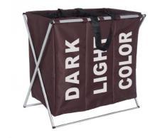Wenko 3440013100 - Cesto para colada con 3 compartimentos de poliéster y aluminio (63 x 57 x 38 cm), color marrón oscuro