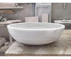 LAVABO DE MÁRMOL BLANCO OVALADO. Medidas de 50x49x16 cm. Acabado mate. Este lavabo es para colocarlo sobre encimera.