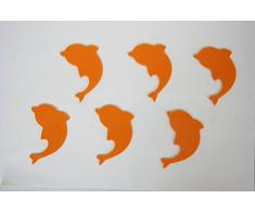Antideslizantes para bañera o plato ducha en pvc (conjunto de 2 unidades). (Forma delfín) color naranja
