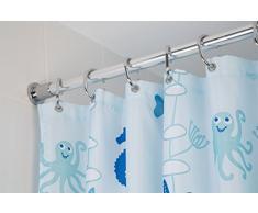 Croydex - Riel de cortina de ducha telescópico (1,1 a 2,6 m), color blanco