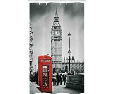 ABAKUHAUS Londres Cortina para baño, Cabina Telefónica Famosa y Big Ben en Inglaterra Vista Urbana Símbolos Ciudad Retro, Tela Estampada de Secado Rápido No Necesita Forro, 120 x 180 cm, Gris
