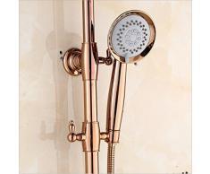 GUHAIBO Continental Vintage Baño exclusivo Golden diamond Todo cobre Chapado en oro Circular Handheld Shower Top spray Shower Juego de grifo de ducha montado en la pared