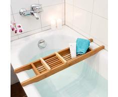 Relaxdays Balda Auxiliar para bañera (con jabonera, Madera de bambú, 70 x 5,5 x 15 cm), Natural, 6,5 x 14 x 69 cm