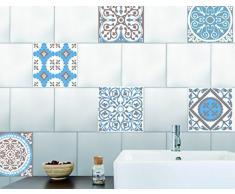 Sticker de decoración para azulejos - Smooth - AZULEJOS ANTIGUOS Tonos Beige y azul, 6 piezas cuadradas de 15x15cm, vinilo, Beige, 15 x 0,1 x 15 cm - Plage 260540