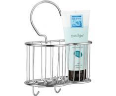 Sanwood - Bandeja metálica para ducha con colgador, acabado brillante