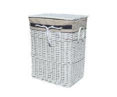 DVier - Cesto de la ropa sucia de mimbre (40 x 30 cm, altura 52 cm), color blanco