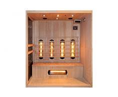 Levi 4 Fullspektrum - Cabina de infrarrojos y sauna de infrarrojos para 4 personas (foco IR-A, IR-B y IR-C, 2800 W, muchos extras)