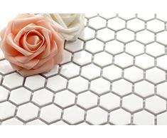 Estructura hexagonal de cerámica mosaico de azulejos esterilla de yoga blanco (MT0089)