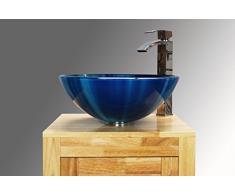 Home Supplies - Lavabo de cristal, color azul