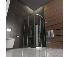 Cabina de ducha de cristal con estructura de cuadrante y puerta corredera, 80 x 80 x 190 cm
