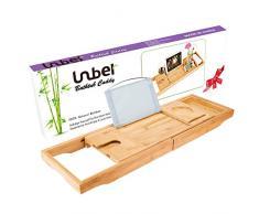 Lujo Bambú bañera bandeja para bañera Caddy con extender lados construido en bandeja de soporte para Tablet teléfono móvil y soporte de Wineglass integrado de libro y otros accesorios colocación