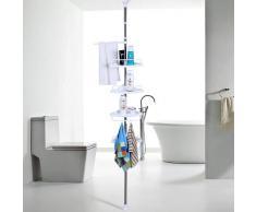 Songmics 120 - 300 cm 4 niveles telescópica ajustable ducha esquina baño estante Rack - Acero inoxidable con revestimiento de tubo BCB002