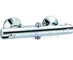Columna de ducha termostática diseño redondo, con tubo extensible de 80 a 120 cm. Rociador extraplano de 20cm y ducha de mano de hidromasaje redondos. Recambios garantizados