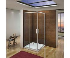 Mampara de Ducha Angular cabina de ducha mampara de ducha cuadrada Puerta Corredera Cristal 5 MM perfilería gris mate 70x70cm