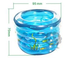 WENBIAOXUEPráctico portátil Thicken Hardy bañera hinchable para adultos Baño Sauna La bañera plegable QLM-bañera inflable y baño de inmersión inflable (Color: azul) Bañera inflable de gran tamaño espesado Bañe , blue , 95cm