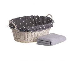 e-wicker24 ovalada mimbre Cuenco en beige, cesto de mimbre sauce, Bañera en blanco, cesta de mimbre en forma de bañera