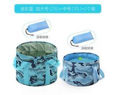 Chuan Rong Lavabo portátil Plegable Bolso Grande de Burbujas Tina de Lavado, Paquete de 2 Camuflaje Azul