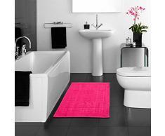 Just Contempo - Alfombrilla para bañera (100% algodón egipcio, lavable, 50 x 85 cm), color negro, algodón egípcio, rosa, 50 x 85 cm