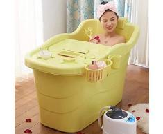 Cuerpo de baño Desmontable Adulto Plegable Hogar Grande Bañera de plástico Niños de gran tamaño Tina de baño de las señoras amarillas Regalo de la bañera ( Color : YELLOW , Size : 113.5*42*70CM )