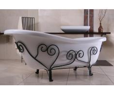 Casa-Padrino Unifamiliar Art Nouveau Baño mediterránea Blanco / 1690mm Forjado de Hierro - Antiguo baño de Estilo - bañera Antigua Retro