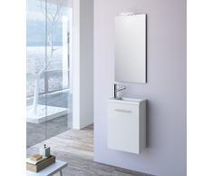 Cygnus Bath Mini Mueble lavamanos de baño, suspendido, con 1 Puerta de Cierre amortiguado, Madera, Brillo Lacado-Blanco, 40x22x48 cm