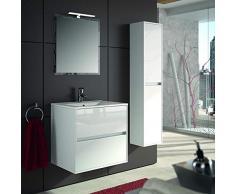 THE LIVING DESIGN FIND YOUR OWN STYLE Conjunto de Mueble de Baño NEJAR - 70cm - Blanco Lacado Alto Brillo. con Lavabo, Espejo y Aplique Led.