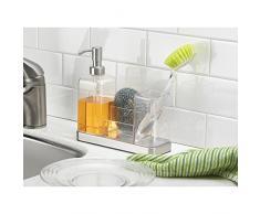 Interdesign 66880EU Forma 2 - Bandeja con dispensador de jabón líquido y portacepillos (acero fino cepillado y transparente)