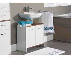 Lavabo base armario con 2 puertas en color blanco/marrón