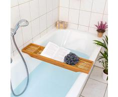 Relaxdays 10019026 - Bandeja para bañera, 3 espacios, bambú, 5.5 x 70 x 16.5 cm