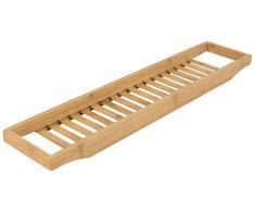 elbmöbel Bandeja de baño de bambú con rejilla 4 x 64 x 15 cm bañera Puente para la Bandeja de jabón o esponja para bañera de alta calidad Madera bañera Aufsatz como bañera Bandeja, natural