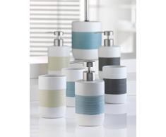 axentia 122409 – Escobillero de WC Atenas, WC accesorio de cerámica, con mango de acero inoxidable, escobilla y soporte, color blanco/azul, 11 x 11 x 39,5 cm