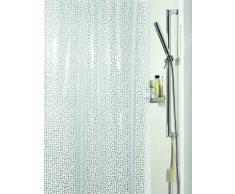 Spirella colección Galet, Cortina de Ducha Textil 180 x 200, 100% Polyester, Blanco, PVC