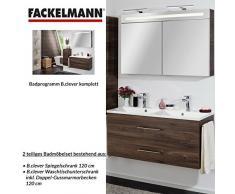 Fackelmann de muebles de baño Set B. Clever de 2 piezas 120 cm marrón con lavabo armario con doble de fundido (mármol & LED Armario con espejo