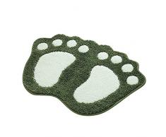 Shanna - Alfombrilla de baño antideslizante, para baño o ducha, alfombra de suelo absorbente, para sala de estar, sofá, cojín, poliéster, Verde, 40 x 60 cm