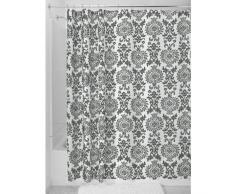 InterDesign Damask Cortina de ducha | Cortinas estampadas de diseño adamascado, 180 cm x 200 cm | Poliéster gris