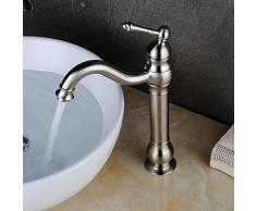 jruia sus 304 Acero Inoxidable Cepillado baño grifo 360 ° giratorio de grifo monomando para lavabo mezclador lavabo grifo baño grifo caño alto F. cuarto de baño