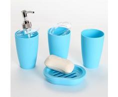Pixnor 4 piezas baño accesorio Set dispensador vaso cepillo de dientes sostenedor del jabón plato (cielo azul)