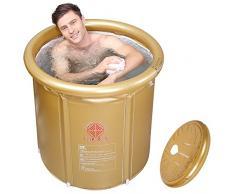 La ducha y bañera plegable para adultos piscina infantil hinchable bañera y cabina de ducha en casa, Golden ,75*80cm.