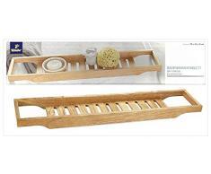 TCM Tchibo - Bandeja para la bañera, madera de caucho (70 x 4,5 x 15 cm)