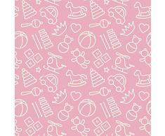 Alfombra infantil Muñequitos bebe fondo rosa PVC 95 cm x 165 cm| Esterillo infantil PVC | Suelo vinilico para niños |