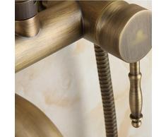 Continental Vintage High-end bathroom Todo cobre Tallado Circular Handheld Shower Top spray Shower Caliente y frío Dual use Conjunto de ducha montado en la pared