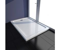 vidaXL Plato Ducha Rectangular Antideslizante ABS Blanco 70x100 cm Placa Baño