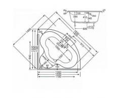 myBATH BW111100 gran acrílico gimnasio bañera Chiemsee, diseño bañera de esquina XL, 130 x 130 cm blanco grande bañera de esquina