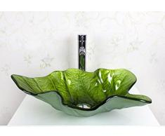 xie lavabo sobre encimera de cristal templado lavabo/hoja de Creative Art (T12 * L590 * W380 * h155 mm), vidrio, verde, basin + faucet