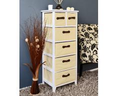 Cómoda en estilo antiguo, Armario de 105 cm de alto, Estantería para baño en blanco y beige, Estante con 6 cestas en marrón