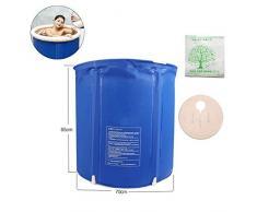LONGLAN Bañera de hidromasaje de PVC Bañera Inflable Caliente Sauna para Adultos Baño de Vapor Barra de baño Inflable Plegable Bañera Grande