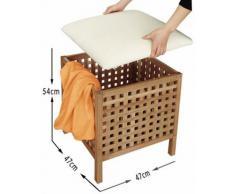 Spetebo - Taburete y cesto de la colada 2 en 1 (asiento extraíble, madera de nogal)